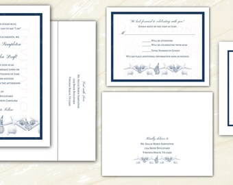 Personalized Navy Starfish & Seashell Beach Wedding Invitations. Optional RSVP cards, inserts and return address printing. Ivory or White.