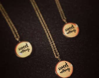Word nerdy charm necklace: 'Sweet nothings' - rose gold and dusty pink. LIMITED EDITION.