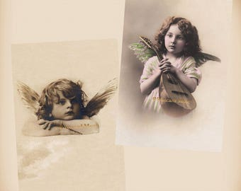 Child As An Angel - Mandolin - 2 New 4x6 Vintage Image Photo Prints AN07 AN37