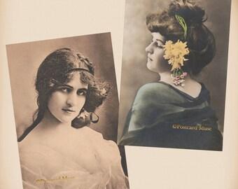 Art Nouveau Woman - 2 New 4x6 Vintage Postcard Image Photo Prints - LE173 LE218
