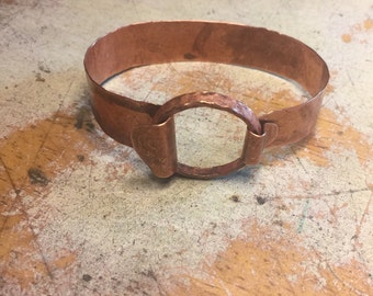 copper bracelet rustic textured with ring closure