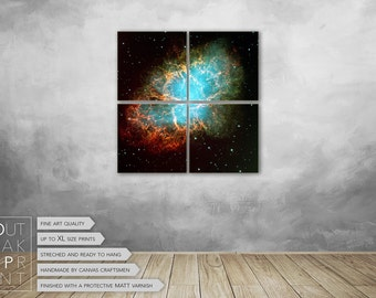 "Space photography, Crab Nebula, Large wall art space, four panel canvas ready to hang 24"" x 24"""