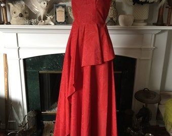 40s Beaded Collar Red Marbled Taffeta Peplum Party Gown