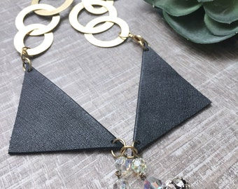 peter pan collar | vintage leather | vintage Swarovski crystal | upcycled jewelry | collar necklace | bib necklace
