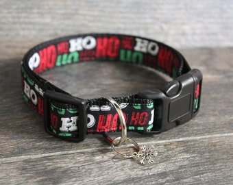 Christmas Dog Collar - Ho Ho Ho Dog Collar - Christmas Collar - Pick your color