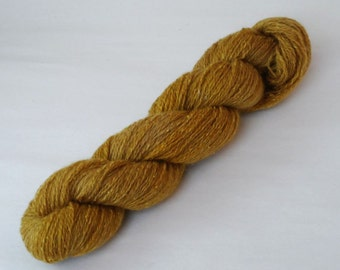 Golden Ochre Yellow Tweedy Silk Blend 4 Ply Wool Yarn 50g