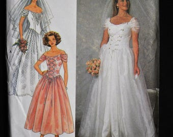1990's Bridal Gown - Sizes 12-14-16 - UNCUT - Full skirt with fitted Princess Bodice - Simplicity 7469
