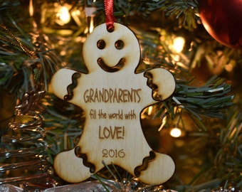 Gingerbread Man Holiday Ornaments,  Custom, 1 Laser Engraved Ornament