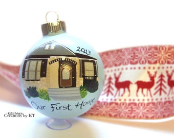 Custom House Ornament MADE TO ORDER New Home Realtor Gift Closing Gift New Homeowners Christmas Glass Bauble Hand Painted
