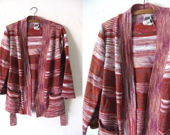 Ikat Striped Boho Cardigan Sweater - Hippie Chic Belted Open Front Slouchy fit Folk Vintage Cardigan Sweater - Womens Medium