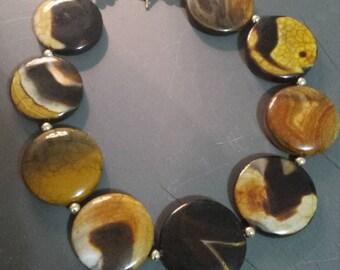 Vintage Large Stone Tortoise Shell Pattern Necklace