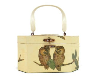 Vintage Wooden Purse with Decoupage Owls by Annie Laurie Originals of Palm Beach Florida  Retro 70's Bag