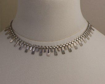 Hallmarked 1979 Sterling Silver 925 Stamped Rectangle Shaped Bib Necklace