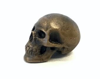 Tiny bronze skull, skull, miniature, cast bronze, jewelry, bead, cast bead, pendant, anatomy, human skull, metal, cast metal, skull bead