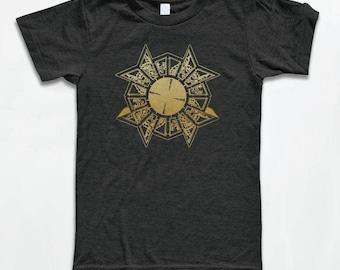 Puzzle Box T Shirt - American Apparel Tri-Blend Vintage Fashion - Graphic Tees for Men & Women - Horror, 80's, Gold Puzzle Box