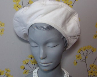 Vintage Style Pure White Beret Slouchy Hat Ladies White Beret Hat Philip Somerville