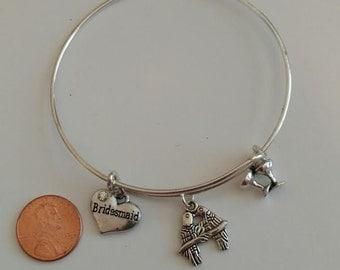 Bridesmaid Gift/Charm Bracelet/Lovebirds Jewelry