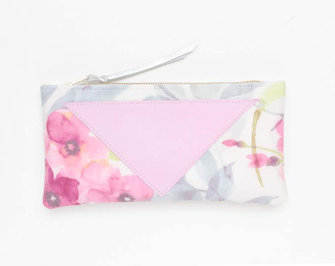 Reserved for Hane / FLARE 136 /Cotton pouch-natural leather pouch-zipper pouch-floral print-make up bag-cosmetic purse-brush case-multicolor