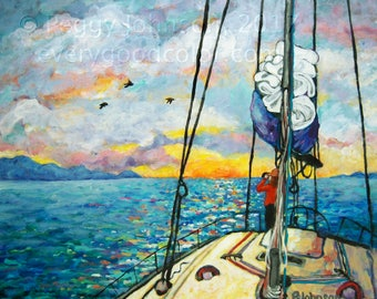 sailing sunset vivid yellow blue impressionistic giclee print choose your size Peggy Johnson everygoodcolor