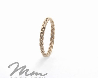 Thin Braided White Gold Ring, Thin Gold Rings, Stacking Rings White Gold Wedding band, Braided Ring, delicate Stackable Ring Gold Twist Ring