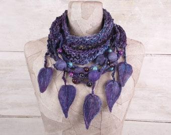 Knit infinity scarf, boho knit loop, Art Knitted wrap, Blue violet knit necklace felt, Bohemian clothing, Gypsy warm crochet, circle long