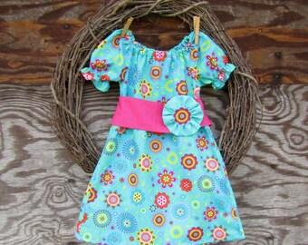Girls Summer Dress, Girls Aqua blue Dress, Girls Peasant Dress, Kids Spring dress,