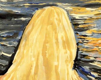 Her Hair by Moonlit  Lake - Original Acrylic Painting