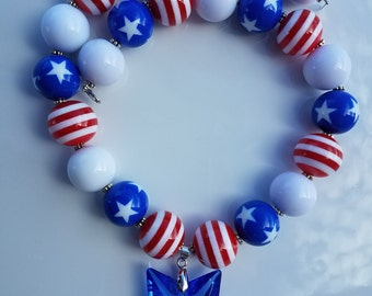 Patriotic Red White & Blue Bubble Gum Bead Necklace with Star Pendant