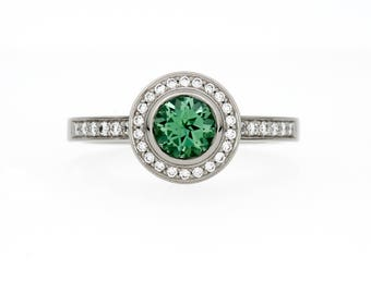 Indigolith Tourmaline halo engagement ring, white gold ring, mint green tourmaline, bezel, tourmaline engagement, diamond ring, rose gold