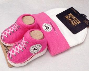 Infant Girl Pink Newborn Converse New Mom Baby Shower Gift Booties Beanie Cap w/ Swarovski Crystal All Star Bling Knit Crib Christening Shoe