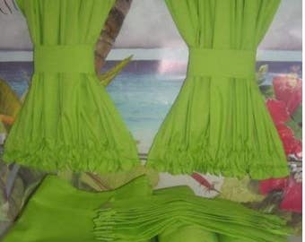VW Lime Green Curtains with Cabin Divider - Fits Bay Window Models 1968-1979