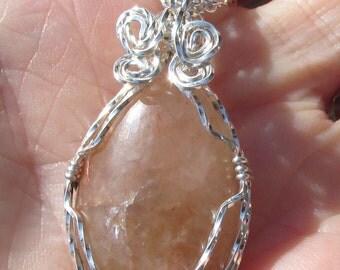 Citrine Pendant wire wrapped in Argentium silver wire