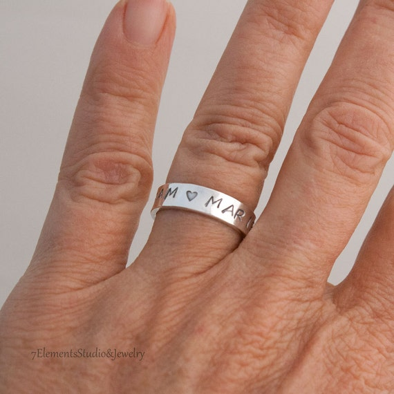 Wide Sterling Mother's or Father's Ring, Inside/Outside Message Ring, Sterling Silver Personalized Ring
