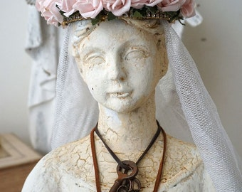 French Santos bust w/ crown shabby cottage chic white distressed figure antique veil pink roses one of a kind home decor anita spero design