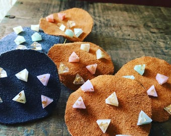 Set of 3- Pastel/ Opaque Resin Triangle/ Geometric Earrings With Gold Flakes/ Gold Leaf
