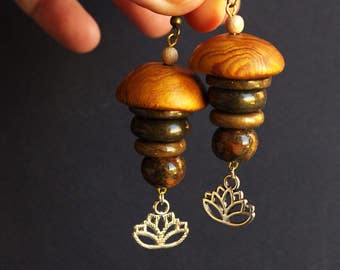 large faux wood earrings / stacked jewelry / lotus charm