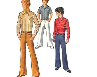 """Simplicity 8902 Teen Boy Body Shirt and Bell-Bottom Hip-Hugger Pants Retro Sewing Pattern Size 12 Chest 30""""/ 76 cm Vintage 1970"""