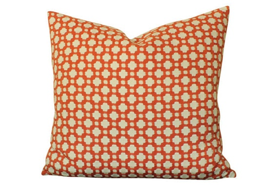 Designer Betwixt Schumacher Pillow Cover, Woven Red and Ivory Geometric Design