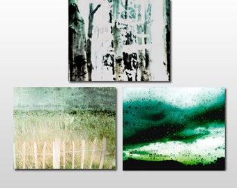 Abstract Art, Set of 3 Prints, Photo Set, Abstract Prints, Green Wall Art, Print Set, Set of Three Prints, Abstract Wall Art