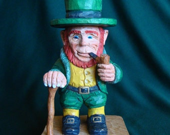 Woodcarving, Leprechaun , Irish Character of Folklore, Original St Patrick's day woodcarving, Collectable Wood Carving Gift