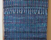 "Hand Woven Rag Rug - Dark Denim with Turquoise Red Yellow - 22"" x 56"""