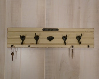 Architectural Salvage Coat Rack Key Holder Wood Wall Decor