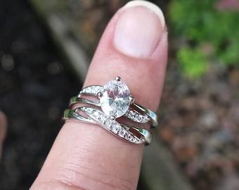 Elegant Vintage 925 Sterling Silver and CZ Wedding Ring Set
