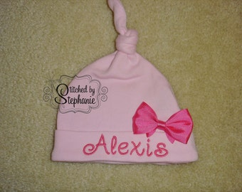 Custom personalized monogrammed personalized name pink or white knotted newborn baby beanie hat with hot pink bow
