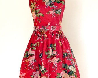 Red Floral Dress, Cotton Dress, Made to Order