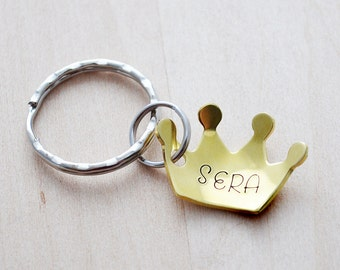Hand Stamped Crown Keychain - Princess Keyring - Custom Name Crown Keychain - Little Princess Party Favor