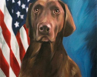 US Flag Dog Portrait on Canvas from Your Photo - Personalized Pet Painting