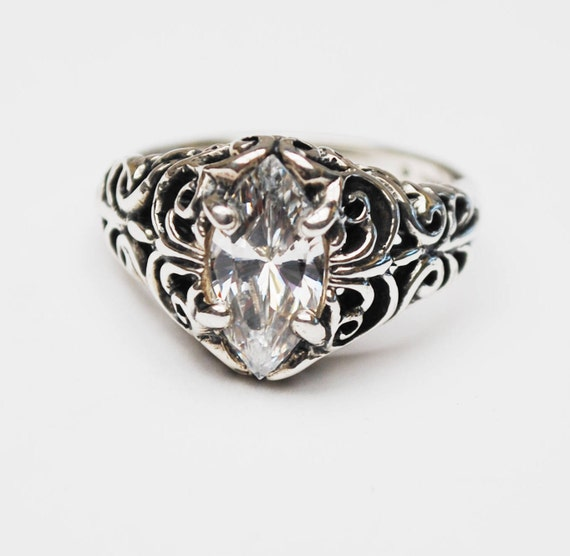 Sterling Filigree CZ ring - Signed Kabana -Cubic Zirconia - Size 7 ring - silver ornate setting -