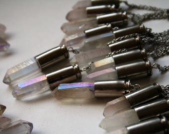 Angel Aura Bullet Crystal Necklace // Iridescent Rainbow White Quartz Bullet Shell Necklace