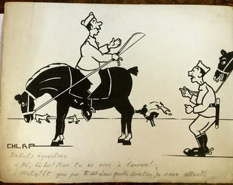 French soliders on horseback, Equestrian cartoon, Vintage French cartoon, Signed Chlap, Original ink drawing